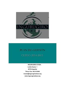 PLAN DE GESTIÓN CURSO 2014-2015