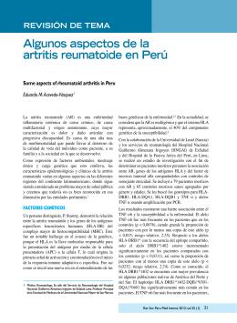 Algunos aspectos de la artritis reumatoide en Perú