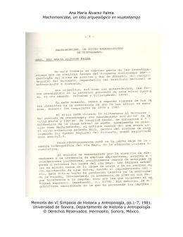Ana María Álvarez Palma Machomoncobe, un sitio arqueológico en