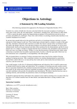 Objections to Astrology