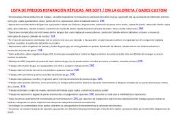 lista de precios reparación réplicas air soft / em la glorieta / gades