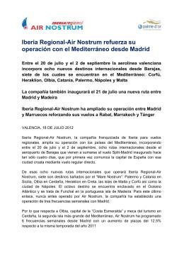 Iberia Regional-Air Nostrum refuerza su operación con el