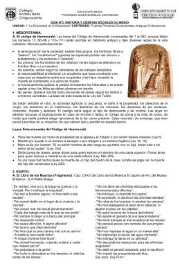 1. MESOPOTAMIA: A. El código de Hammurabi: Las leyes del