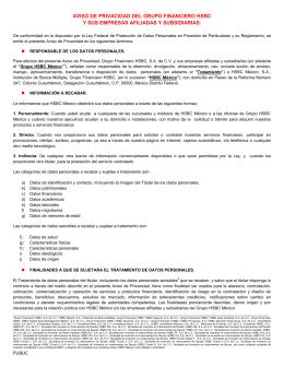 PUBLIC AVISO DE PRIVACIDAD DEL GRUPO FINANCIERO HSBC