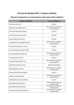 Proceso de admisión 2013- I. Examen ordinario