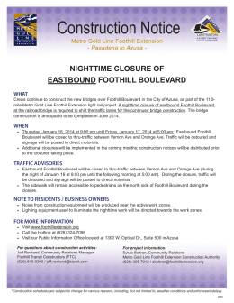 Construction Notice - Foothill Gold Line
