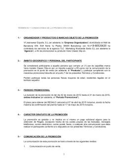 TÉRMINOS Y CONDICIONES DE LA PROMOCIÓN VANS 1