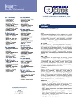 Licenciatura Turismo Licenciatura en TURISMO Plan S.E.P.