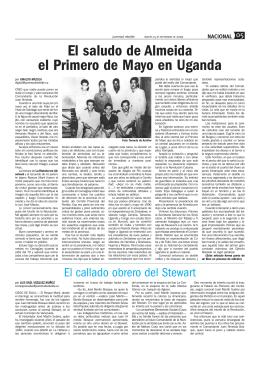 El saludo de Almeida el Primero de Mayo en Uganda