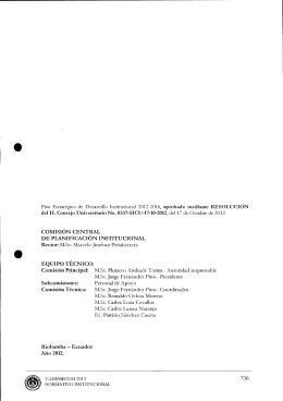 Plan Estratégico de Desarrollo Institucional 2012 - 2016