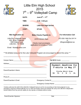 Little Elm High School 2015 7 – 9 Volleyball Camp