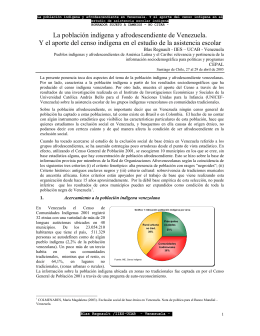 La población indígena y afrodescendiente de Venezuela. Y el