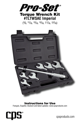 Torque Wrench Kit #TLTWSAE Imperial