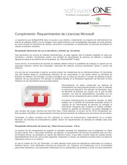 Cumplimiento: Requerimientos de Licencias Microsoft