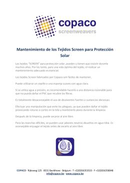 Mantenimiento de los Tejidos Screen para Protección Solar