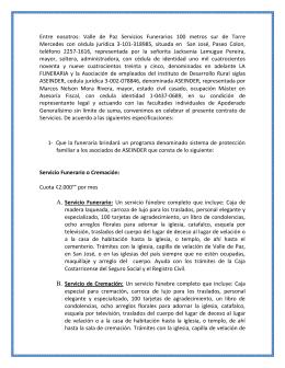 propuesta para establecimiento de convenio entre funerarias valle