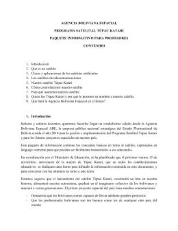 Paquete para profesores - Agencia Boliviana Espacial
