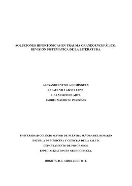 soluciones hipertónicas en trauma craneoencefálico: revision