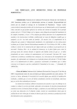 LOS TRIBUNALES ANTE DIFERENTES TEMAS DE PROPIEDAD