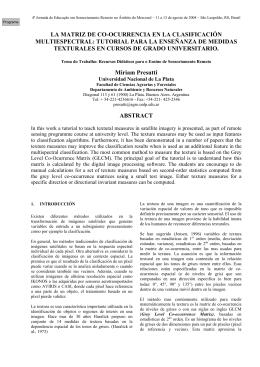 la matriz de co-ocurrencia en la clasificación multiespectral