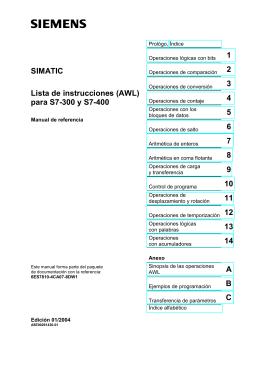 SIMATIC Lista de instrucciones (AWL) para S7-300 y S7-400