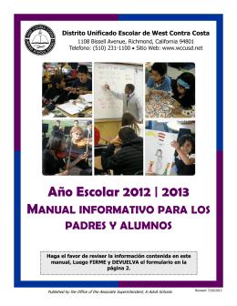 Año Escolar 2012 | 2013 - West Contra Costa Unified School District