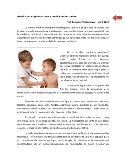 Medicina complementaria y medicina alternativa