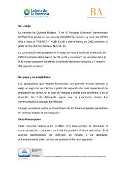 """Del Juego La variante de Quiniela Múltiple """"1 en 10 Poceado"""