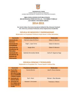 Listado de Asociaciones Estudiantiles