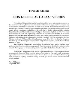Tirso de Molina DON GIL DE LAS CALZAS VERDES