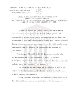 1\iENSAJE DEL GOBERNADOR DE PUERTO RICO, RAFAEL