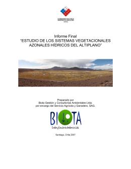 Informe final: Estudio de los sistemas vegetacionales azonales