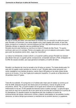 Conmoción en Brasil por el adiós del Fenómeno