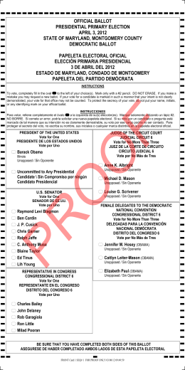 official ballot presidential primary election april 3, 2012 state of