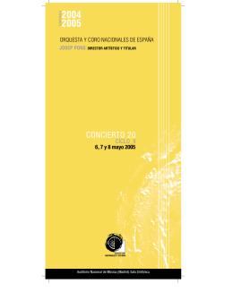 Concierto 20, Ciclo II - Orquesta y Coro Nacionales de España