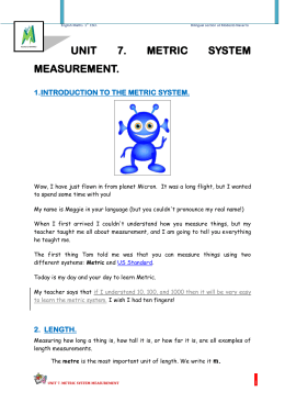 UNIT 7. METRIC SYSTEM MEASUREMENT.