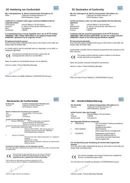 EC Verklaring van Conformiteit EC Declaration of