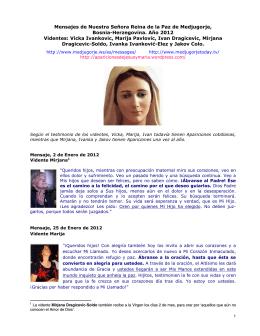 Reina de la Paz de Medjugorje – Mensajes 2012