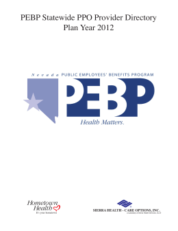 PEBP 2012 Cover - Public Employees` Benefits Program (PEBP) of