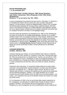 NOTAS PROGRAMA OSG 1, 2 de noviembre 2013 Leonard Bernstein