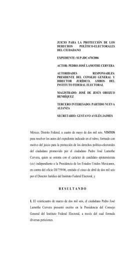 SUP-JDC-670/2006 - Tribunal Electoral del Poder Judicial de la