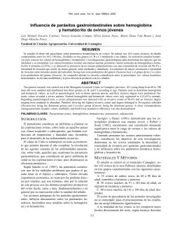 Influencia de parásitos gastrointestinales sobre hemoglobina y