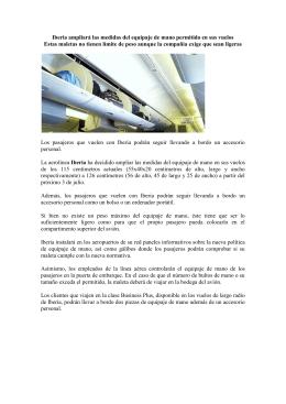 Iberia ampliará las medidas del equipaje de mano permitido en sus