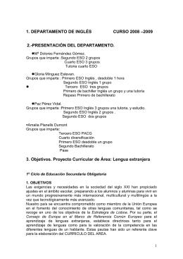 1. DEPARTAMENTO DE INGLÉS CURSO 2008 –2009 2