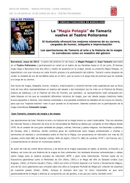 Nota de prensa (CASTELLANO) - Comedia Comunicació & Mèdia