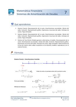 Matemática Financiera Sistemas de Amortización de Deudas