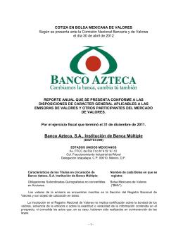 Banco Azteca, S.A., Institución de Banca Múltiple