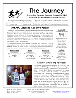 The Journey Oregon Post Adoption Resource Center (ORPARC)