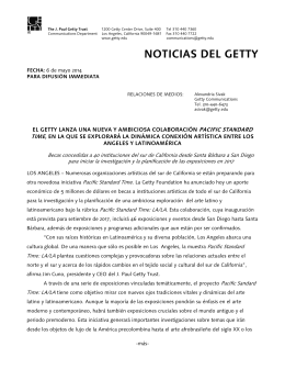 NOTICIAS DEL GETTY - News from the Getty