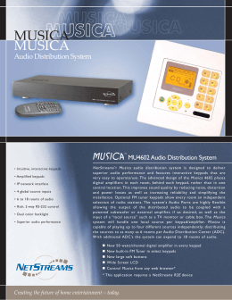 MU4602 Musica Audio Distribution System data sheet